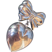 Romantic Sterling Silver Big Heart Dangle on Bow Brooch Bold Pin Valentines Day Theme for Sweetheart