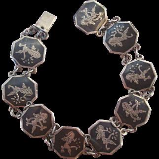 Vintage Silver Black Enamel Siam Dancers Bracelet 1950s Era Mid Century