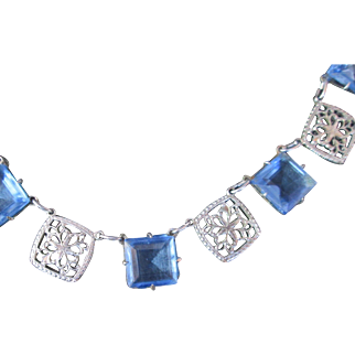 Art Deco Filigree w Blue Glass Necklace c.1920s Beautiful Exquisite Details 16.5 inches