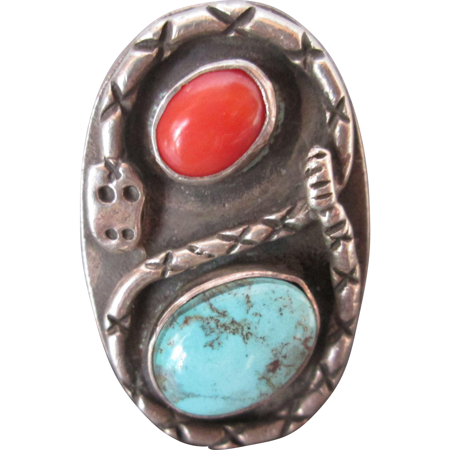 Amazing Navajo Hand Made Silver Turquoise Coral Ring w Snake Large Size 10