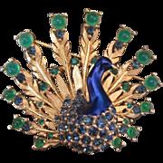 Beautiful Vintage Boucher Peacock Brooch Enamel Gold Tone Green Blue Bird Pin Marcel