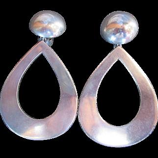 Puig Doria Bold Sterling Earrings Modernist Style Clip Back Modern Design Statement