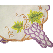 Genuine Irish Linen Table Topper Grape Theme Embroidery Fine Quality