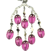Sarah Coventry Orchid Purple Silver Tone Waterfall Chandelier Lucite Drop Necklace