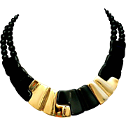 Napier Black Lucite Thermoset & Gold Plated Sculptural Modernist Collar Necklace 1980s Book Piece!