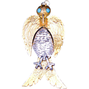Kenneth Jay Lane 1960s Pre-Columbian Aztec/Mayan Inspired Large Bird Pendant