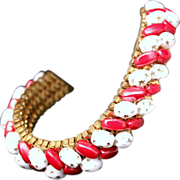 Vintage 1950s Red & White Peppermint Glass Beaded Gold Tone Mesh Bracelet