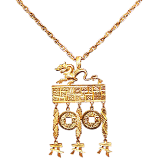 Vintage 1960s Kenneth Jay Lane Gold Plated Dragon Asian Motif Pendant Necklace Saks Exclusive