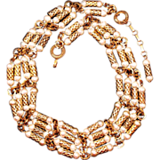 Vintage 1930s Art Deco Gold-Tone Cylinder Faux Pearl Choker Necklace