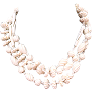 Vintage 1940s Carved Cream Celluloid Hand Knotted Beaded Flapper Necklace 54""