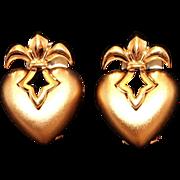 Vintage Signed Nina Ricci Puffy Heart Fleur de Lis Petite Clip Earrings