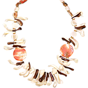 "Vintage CADORO Genuine Mother-of-Pearl and Red Abalone 28"" Statement Necklace 1960s"