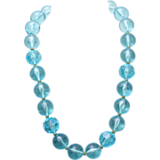 Vintage Napier Tropical Blue Resin Lucite Beaded Necklace 1992 Miami Collection