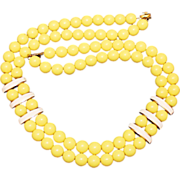 "Vintage Napier Bright Yellow ""Newport"" Resin & Enamel Beaded Necklace Book Piece"