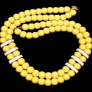 "Vintage Napier Bright Yellow ""Newport"" Resin & Enamel Beaded Necklace Book Piece"
