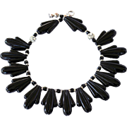 Vintage Art Deco Style Black Lucite Thermoset Necklace with Rhinestone Ball & Crystal Rondelle Beads
