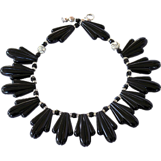 Vintage Art Deco Style Black Lucite Thermoset Rhinestone Necklace