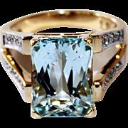 Vintage Radiant-Cut Natural Aquamarine & Diamond 14K Ring by Designer Laura Ramsey 8.04ctw