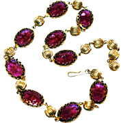 Vintage French Art Deco Style Faceted Amethyst Glass Crystal Choker Necklace Set in Ornate Open Bezels