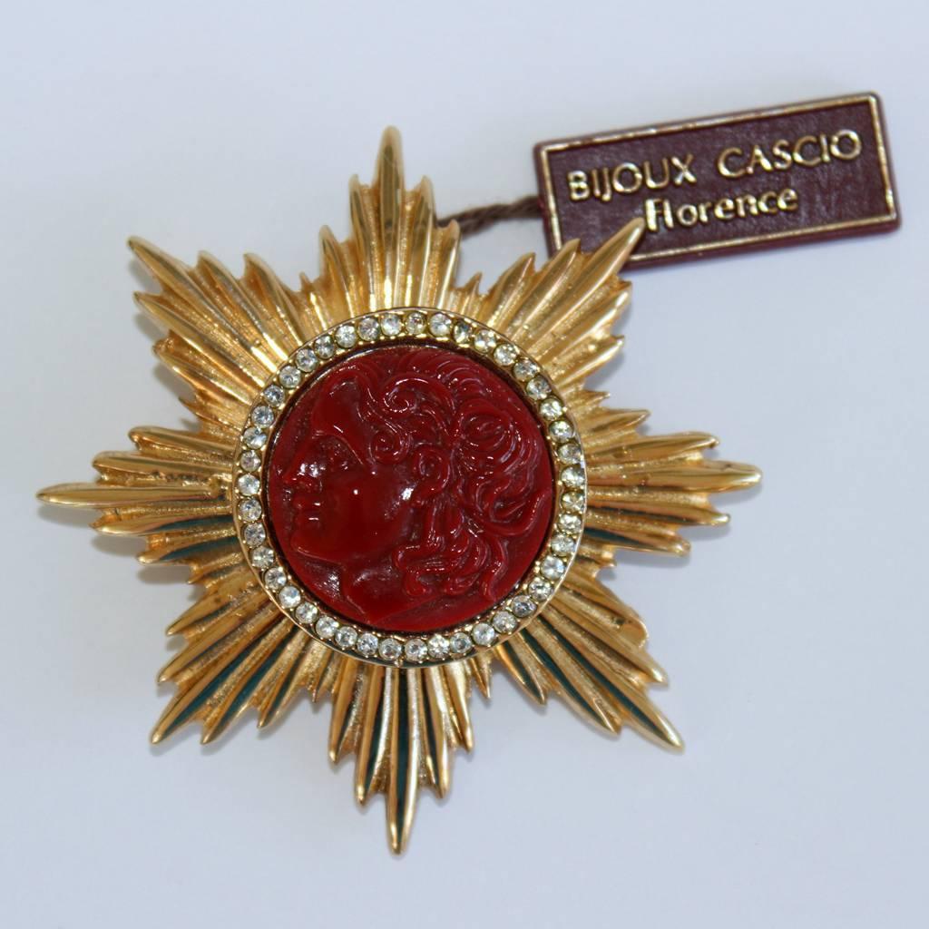 Bijoux American Vintage : Vintage italian bijoux cascio coral resin cameo rhinestone