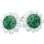 "Vintage Napier ""Mandarin Fantasies"" Bertolli Faux Carved Jade Molded Glass & Milk Glass Clip Earrings 1965"