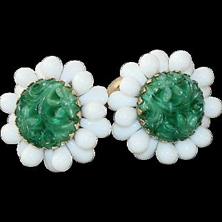 Vintage Napier Bertolli Faux Jade Molded Glass Earrings 1965