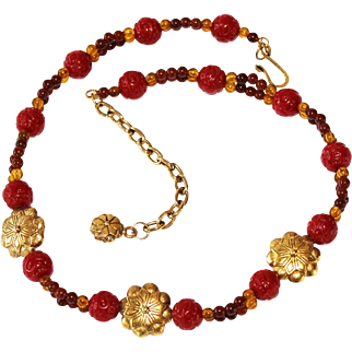 Vintage Carved Lucite Faux Cinnabar Beaded Necklace with Brass Floral Accent Beads Circa 1960