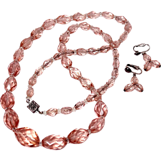 Antique Edwardian Faceted Pink Glass Crystal Necklace & Earrings Set Sterling Clasp