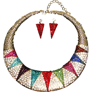 Vintage Art Deco Style Multi-Color Crystal Rhinestone Pavé & Diamanté Runway Statement Collar Necklace & Earrings Set