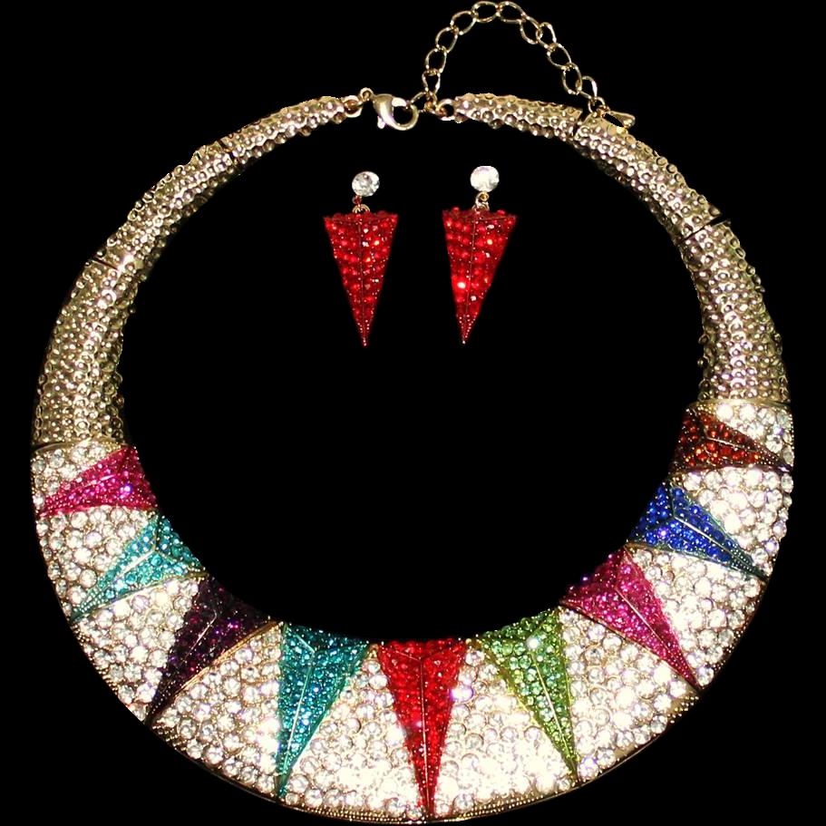 Vintage Art Deco Style Multi-Color Rhinestone Pavé Collar Necklace & Earrings Set