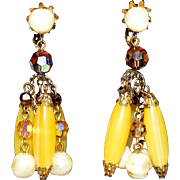 Vintage Vendome Lucite, Aurora Borealis & Faux Pearl Dangle Earrings Early 1950s