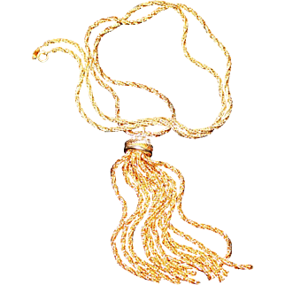 "Rare Vintage Henkel & Grosse Germany 1973 Gold-Plated Rope Chain & Rhinestone Tassel Pendant Necklace 31.5"" Long"