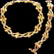 Vintage FENDI 1990s Designer 18K Gold-Plated Jewelry Set Necklace & Bracelet Signed