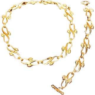 Vintage FENDI 1990s Designer 18K Gold-Plated Jewelry Set Necklace & Bracelet Signed