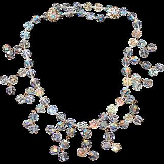 Vintage Judith McCann 1958 Aurora Borealis Crystal Bead Bib Necklace