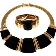 Vintage Anne Klein 1980s Modernist Bold Black Faceted Lucite Omega Collar Necklace & Matching Bracelet Set