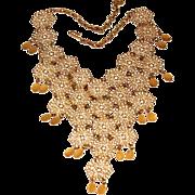 Vintage Vendome Filigree Link Cleopatra Style Bib Necklace