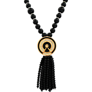 Vintage Signed Kenneth Jay Lane Art Deco Style Faux Onyx Lucite Beaded Tassel Pendant Necklace