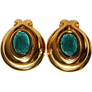 Vintage FENDI Emerald Green Gripoix Poured Art Glass Clip Earrings