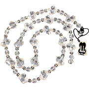 Vintage Hobé Crystal Lucite Acrylic Beaded Necklace with Rhinestone Rondelle Spacers New Old Stock with Tag