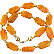 Vintage Butterscotch Molded Marbled Chunky Lucite Acrylic & Gold-Tone Necklace