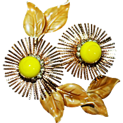Vintage Warner NY Stylized Flower Pin/Brooch with Art Glass, Rhinestones & Enamel