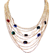 Vintage Coro Multi-Strand Cascade Chain Necklace with Bezel Set Rhinestones