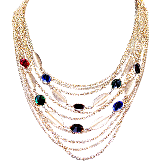 Vintage Coro Multi-Strand Cascade Chain Necklace with Bezel Set Rhinestones