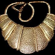 Vintage Egyptian Revival Hammered Gold Tone Statement Bib Necklace 1980s