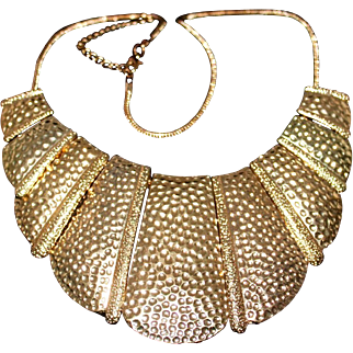 Vintage Egyptian Revival Hammered Gold Tone Statement Bib Necklace 1980s