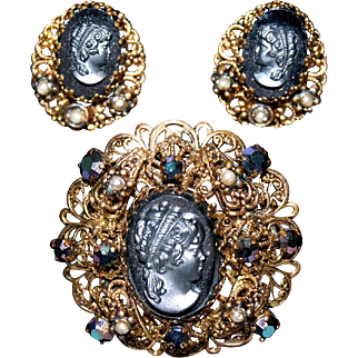 Vintage West Germany Black Hematite Glass & Filigree Cameo Pin/Brooch with Matching Earrings