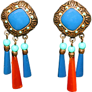 Vintage Hobé Thermoset Lucite Earrings Lapis Blue, Turquoise & Amber