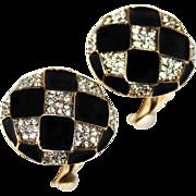 Vintage 1980s Nina Ricci Black Enamel & Crystal Rhinestone Domed Button Clip Earrings