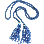 Vintage Glass Bead Lariat Rope Tassel Necklace with Venetian Glass Wedding Cake Beads